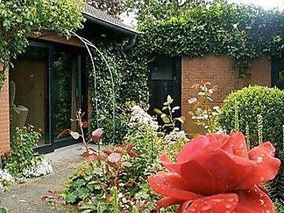 Blick auf die Südterrasse der Ferienwohnung*** und die angrenzenden Rosenbeete.