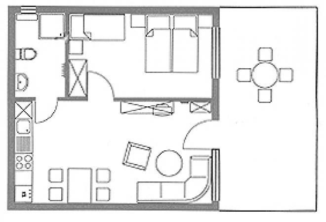 wohnzimmer mit integrierter küche – dumss